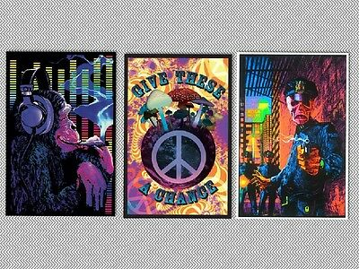 BLACKLIGHT POSTER 3 INDIVIDUAL 24x36 NEW POSTERS PEACE TRIPPY PSYCHADELIC MONKEY