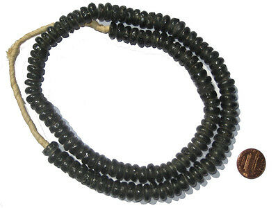African Recycled Glass Beads - Rondelle (Black) Ghana