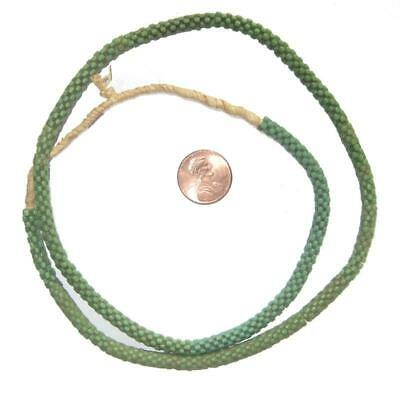 Green Star Snake Beads 6mm West Africa African Unusual Glass 24 Inch Strand