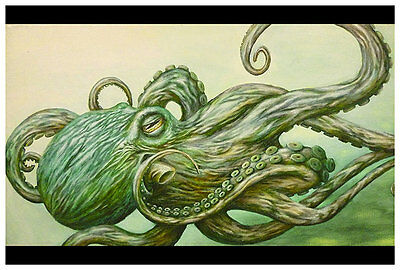 Octopus by Jon Hoffman Tattoo Fine Art Print Ocean Poster Green Tentacles