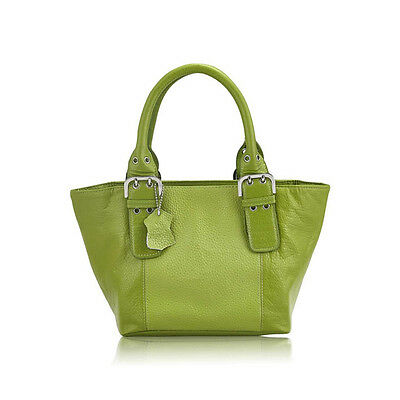 Quilted Genuine Leather Tote Bag Purse Adjustable Handle Green Fashion
