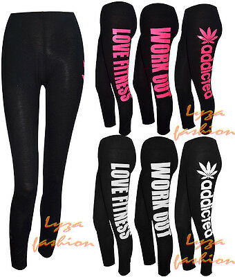 L147 Womens Ladies Girls Workout addicted Style Jersey Gym Leggings Size S/M M/L