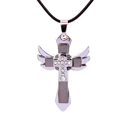 Hot Jewel Silver Cross Stainless Steel Crystal Rhinestone Wing Pandent Necklace
