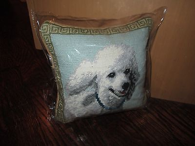 WHITE POODLE  Dog Handmade Needlepoint Pillow 10 by 10  NWT