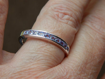 TANZANITE HALF ETERNITY/STACKABLE RING IN STERLING SILVER 925-SIZE O-0.5000CTS