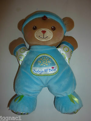 Fisher Price Baby's 1st Bear Rattle Plush Doll Blue Boys Lovey