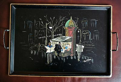 Vintage Retro Art Deco Cocktail Martini Serving Tray ~ Hand Painted