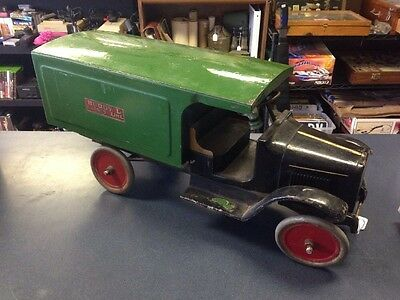 Vintage Buddy L Express Line Moving Van Truck No. 204 Pressed Steel RARE 1920s