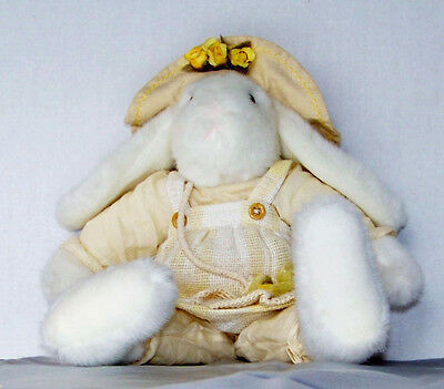 "SWEET RUSS  ""LORA"" PLUSH STUFFED WHITE BUNNY RABBIT BEAN BAG IN PALE YELLOW"