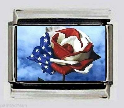 RED WHITE BLUE ROSE Italian photo 9mm Charms for nomination style link bracelets