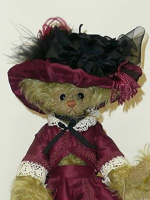 """9"""" Jointed, Tan Mohair Bear """"Katherine"""" by Christy's Bears in Great Costume"""