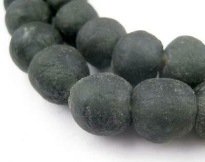 African Recycled Glass Beads - 14mm (Black) Ghana