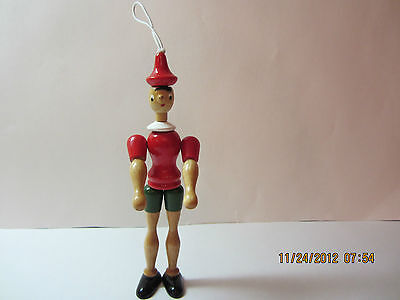Vintage Wooden  Pinocchio Christmas Ornament-Joints Are Moveable-Italy