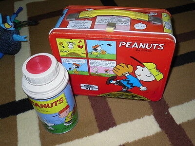 PEANUTS CHARLIE BROWN SNOOPY Vintage 1965 Red Metal Lunch Box + Thermos