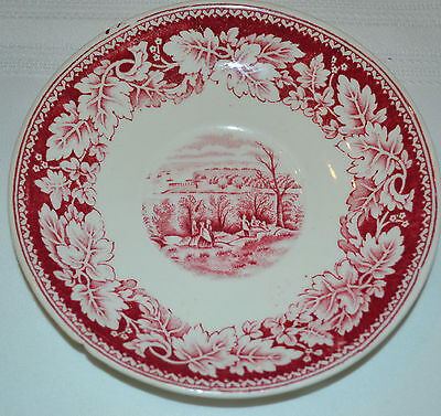 """Homer Laughlin Currier & Ives View of New York 5 3/4"""" Saucer Cranberry Beige"""