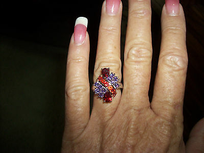Sale! STERLING SILVER AMETHYST AND GARNET RING VICTORIA WIECK (7)