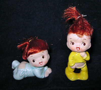 """LITTLE GIRLS in PAJAMAS w RED HAIR PORCELAIN FIGURINES STAMPED """" FOREIGN """""""