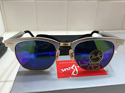 Ray-Ban Clubmaster Aluminum RB3507 Authentic - Silver - Blue Lens (NEW)