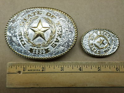 Vintage Crumrine TEXAS 1836 Belt Buckle and Lapel Money Clip! Rodeo Western USA!