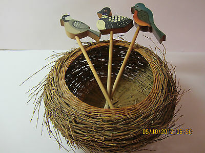 Vintage Decorative Wooden Birds On Dowels With Nest Basket-Hand Painted & Signed