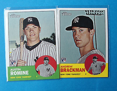 (2 card lot) 2012 Topps Heritage Rookies *NYY*  ROMINE and BRACKMAN