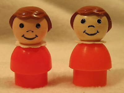 Vintage Fisher Price Little People (2) Two Jet Airport Red Girl Brown Hair #21