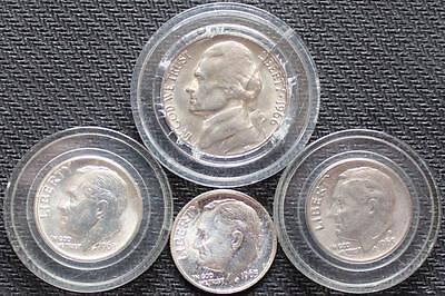 LOT OF 4 MIX COINS, 3 SILVER ONE DIMES; 2-1963, 1-1969 D (1 FIVE CENS 1966)