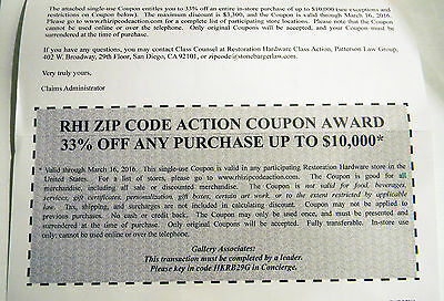 33% Off Restoration Hardware Coupon — In Store only for purchase up to $10,000