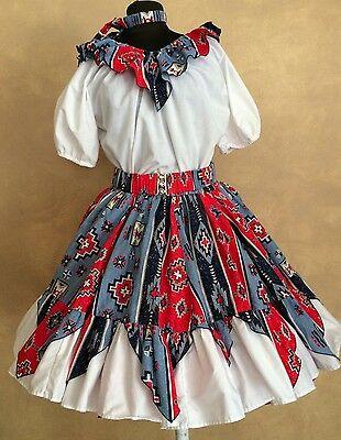 4PC WESTERN NATIVE RED WHIT BLUE SQUARE DANCE SKIRT BLOUSE BELT & TIE