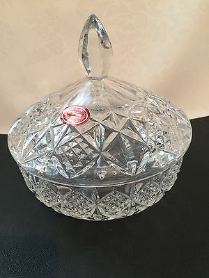 GORHAM CANDY DISH W/COVER, 'COVINGTON' HAND CUT CRYSTAL BOWL CZECH REPUBLIC