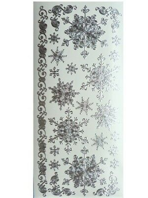 SILVER SNOWFLAKES Peel Off Stickers Flourish Christmas Winter Snow Frozen Ice