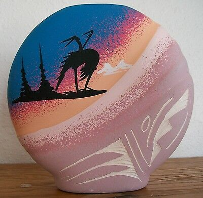 DINE' NAVAJO POTTERY End of the Trail and Teepee HAND PAINTED & ETCHED Signed