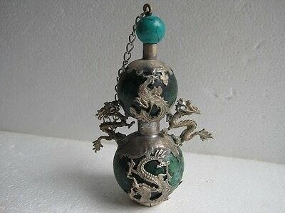 Chinese old jade inlaid with silver green stone dragon carved snuff bottle