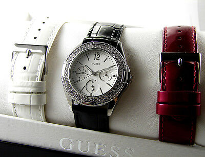Guess women's crystals watch black white burgundy straps 3 in one gift set box