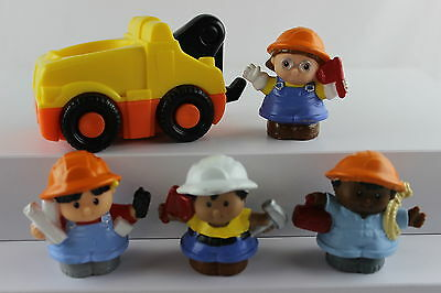 Fisher-Price Little People 4 Construction Workers & Tow Truck w/ Sounds - Lot B