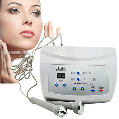 Ultrasound Facial Body Skin Massager Pain Therapy Ultrasonic Machine with 2probe