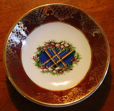 SCOTTISH TARTAN Gold Weatherby Hanley England Royal Falcon Ware Dish 2-76