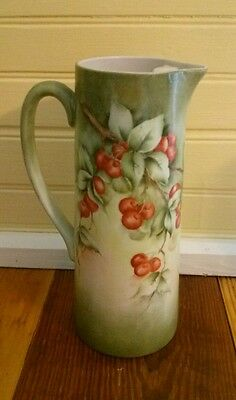 Antique Hand Hand Painted Cherries Tankard Pitcher Signed