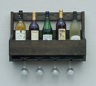 Rustic 6 Bottle Wall Mount Wine Rack With 4 Glass Holder Ebony Finish