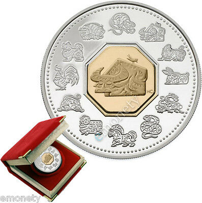 CANADA 2009 15 CAD Silver Lunar Cameo Coin Year of the Ox BOX + FREE GIFT