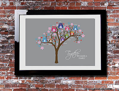 Personalised FAMILY TREE Owl Typography Picture Print Branch Canvas Gift Present