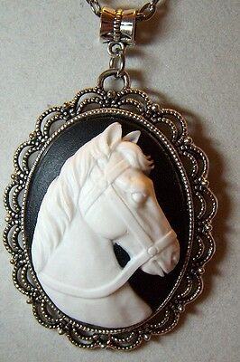 "CUSTOM MADE WHITE HORSE CAMEO PENDANT NECKLACE,ON 20"" SILVER ROLO CHAIN"