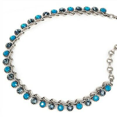SWEET ROMANCE Blue OPALS Collar Necklace1950's Vintage Vogue style Crystals