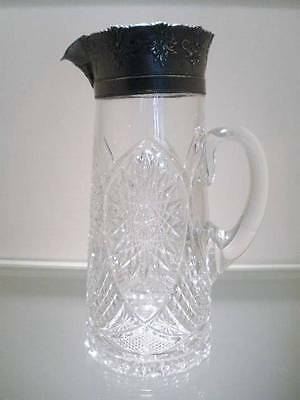 Antique Pressed Glass Tall Pitcher with Ornate Metal Rim