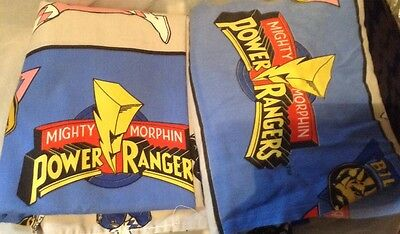 Power Rangers Twin Bed Flat & Fitted Sheets Mighty Morphin Vtg 1994 USA fabric