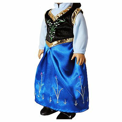 "Anna Costume Dress Doll Clothes Fits American Girl 18""  Frozen Princess"