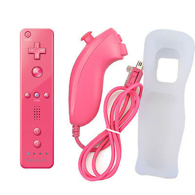 Built in Motion Plus Remote +Nunchuck Controller+ Case for Nintendo Wii 6 colors