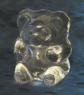 BEAR Clear Thick Glass Paperweight Figurine