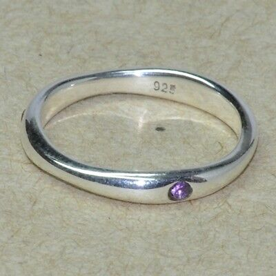 NATURAL ROUND AMETHYST GEMSTONE TINY 925 STERLING SOLID SILVER RING SZ 7 SR2889
