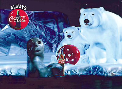Coke Coca-Cola Polar Bears & Seal Cel Art Ad Advertising Commercial NEW